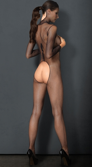 Sexy Vixen Hooded Fishnet Bodysuit - Black