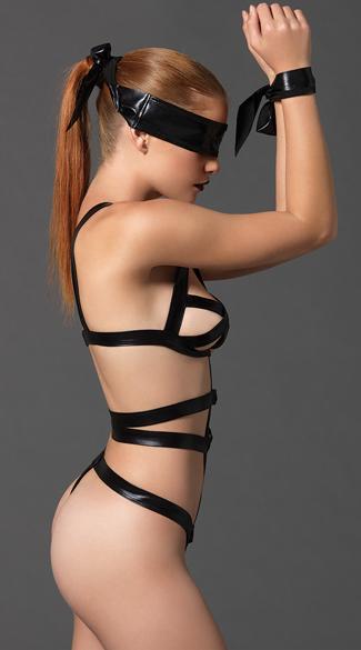 Strappy Bondage Teddy Set - Black