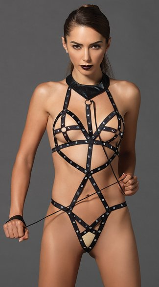 Studded Bondage Teddy with Leash, Black Cage Teddy, Black Bondage Teddy