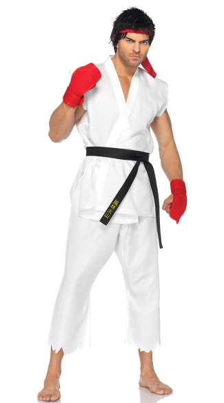 Street Fighter Ryu Costume, Mens Street Fighter Costume, Adult Ryu Costume