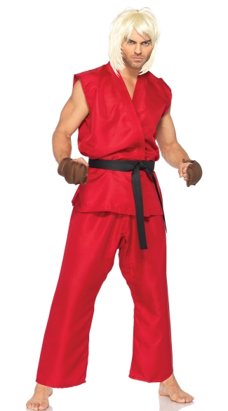 Street Fighter Ken Costume, Mens Video Game Costume, Adult Street Fighter Costume