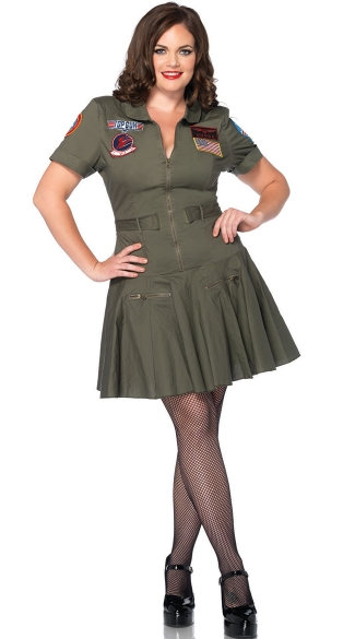 Plus Size Top Gun Flight Suit Costume, Plus Size Top Gun Costume, Flight Suit Dress Costume