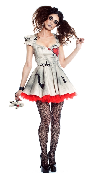 Voodoo Doll Vixen Costume, Voodoo Doll Costume, Mystical Witch Costume, White Voo Doo Doll Costume, Voodoo Witch Costume