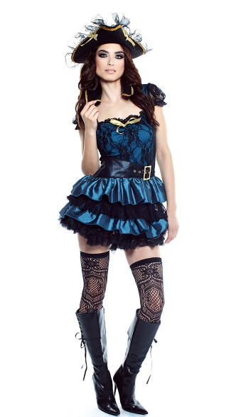 Deadly Treasure Costume, Blue Pirate Costume, Sexy Blue Pirate Halloween Costume, Lace Pirate Costume