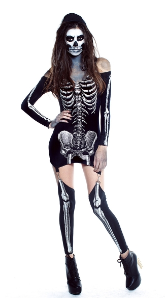 X-Rayed Hottie Glow In The Dark Costume - Black
