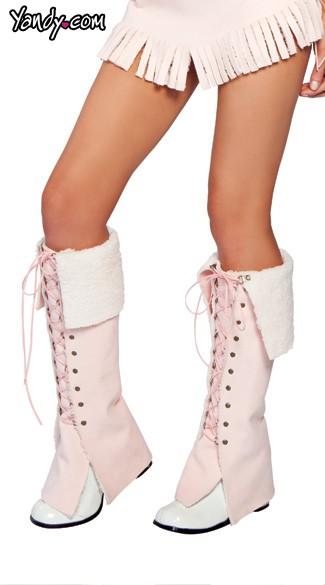 Lace-Up Moccasins Leg Warmers - Light Pink