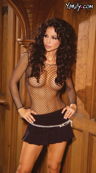 Fishnet Long Sleeved Cami Top With Black Low Waist Pleated Mini - as shown