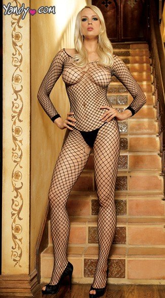 Long sleeved lycra industrial net bodystocking.