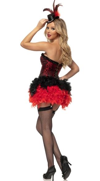 Deluxe Red Burlesque Showgirl Costume - Black/Red