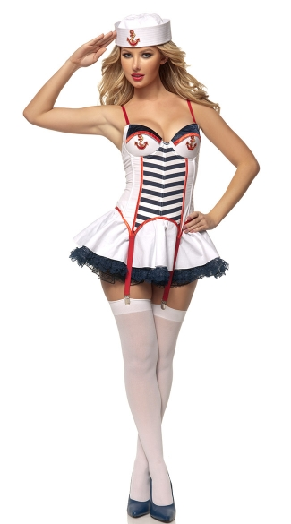 Anchors Away Nautical Beauty Costume, Anchors Away Costume, Sexy White Sailor Costume, Nautical Costume