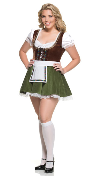 cb649967b2 Plus Size Sultry Beer Maiden Costume - Brown Green