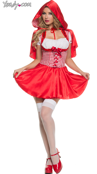 Hooded Red Damsel Costume - Red/White