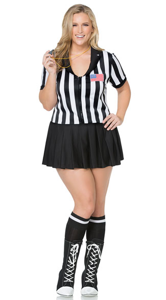 Plus Size Sexy Referee Costume, Plus Size Referee Costume, Plus Size Sports Costume