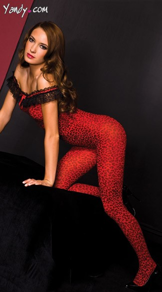 Red Cheetah Bodystocking, Red Animal Print Lingerie, Red Opaque Bodystocking