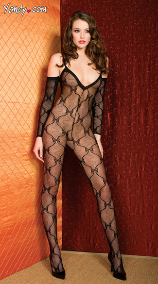 Bow Bodystocking, Black Bow Print Body Stocking