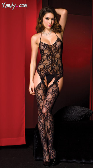 Fancy Lace Bodystocking, Lace Suspender Body Stocking