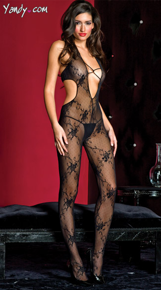 Romance Bodystocking, Flower Print Bodystocking