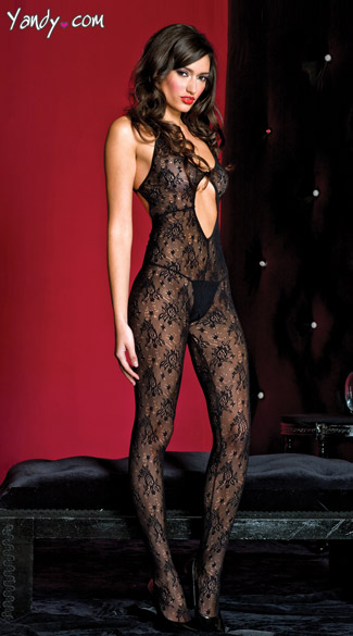 Keyhole Lace Bodystocking, Black Lace Cut Out Bodystocking