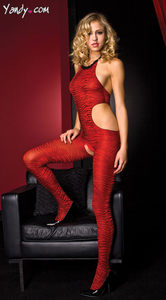 Red Zebra Bodystocking - Red/Black