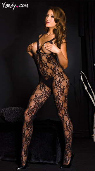 Lace Open Cup Bodystocking, Cupless Bodystocking