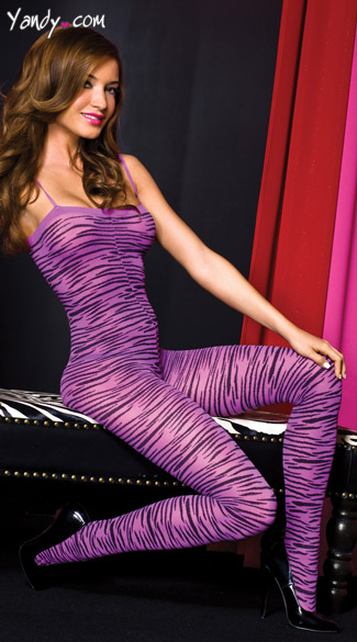 Purple Animal Print Bodystocking, Purple Zebra Body Stocking