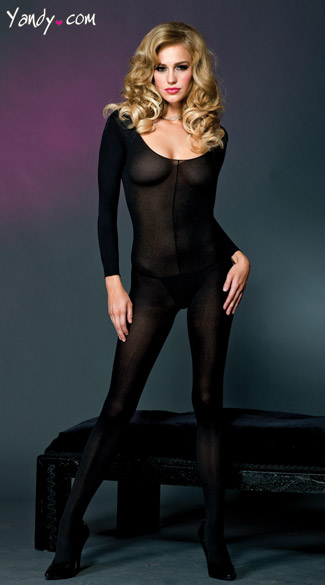 Long Sleeve Opaque Bodystocking, Black Body Stocking