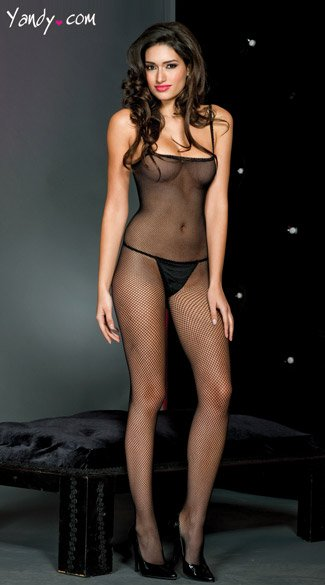 Spaghetti Strap Bodystocking - Black