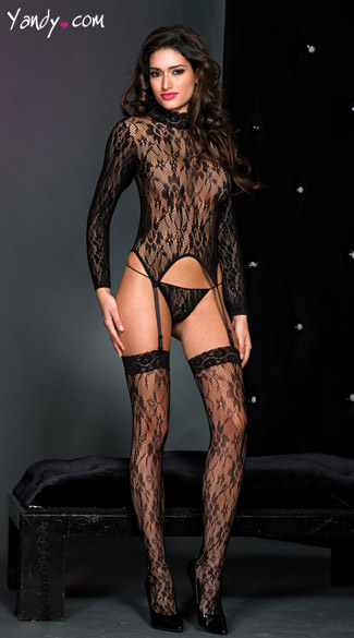 Lace High Neck Bodysuit, Lace High Neck Garter Cami, Long Sleeve Camisole