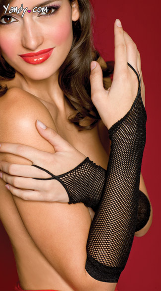 One Finger Fishnet Gloves - Black