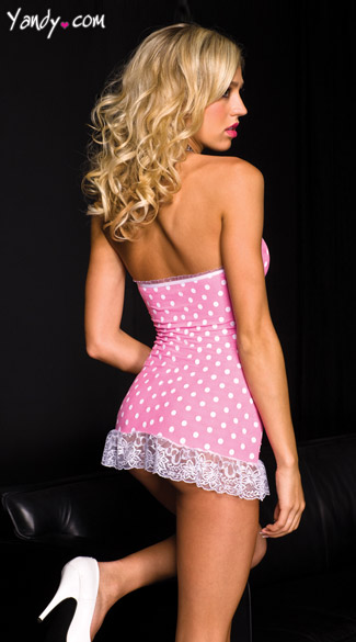 Pink Polka Dot Chemise - Hot Pink/White