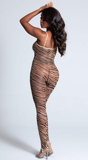 Crotchless Zebra Print Bodystocking - Beige/Black