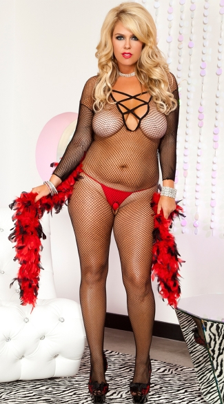 Plus Size Cross Front Bodystocking