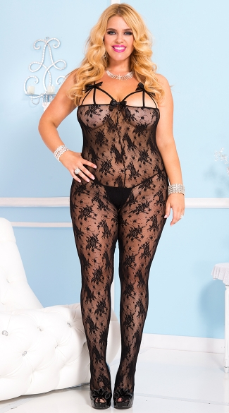 Plus Size Rose Lace Bodystocking - Black
