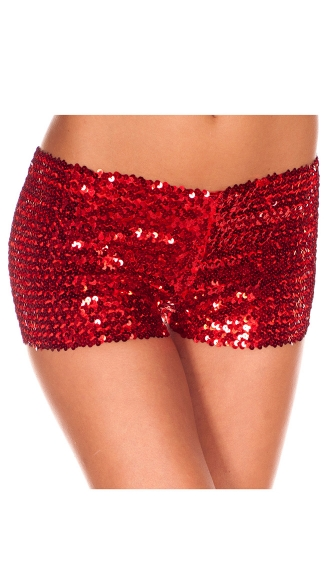 Sequin Booty Shorts - Red