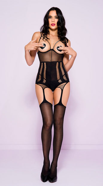 Shredded Open Cup Bodystocking, Sheer Black Open Cup Bodystocking - Yandy.com
