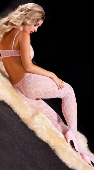 Light Pink Lace Bodystocking - Pink