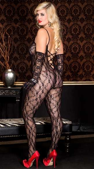 Plus Size Lace Crossed Back Bodystocking - Black