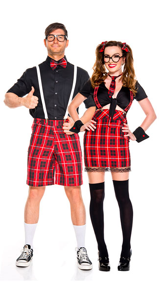 Red School Nerds Couple Costume, Frisky Schoolgirl Costume, High Waisted Schoolgirl Costume, Sexy Schoolgirl Costume, Men\'s Classroom Nerd Costume, men\'s nerd costume, sexy men\'s nerd costume, sexy men\'s classroom nerd costume, sexy men\'s student costume, men\'s student costume