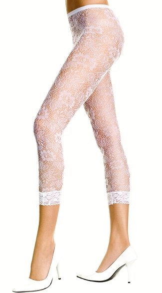 White Floral Lace Leggings - White