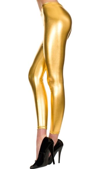 Shiny Footless Pantyhose Legging - Gold