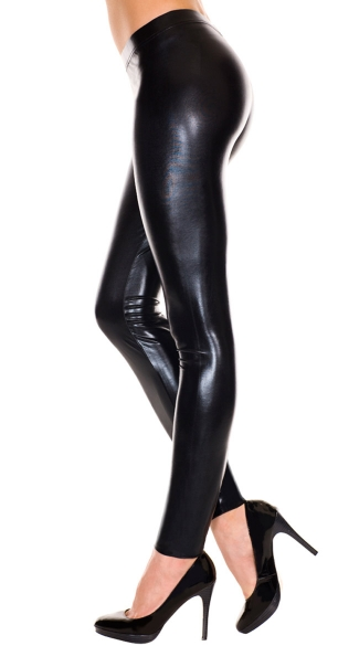 Black Wet Look Leggings - Black