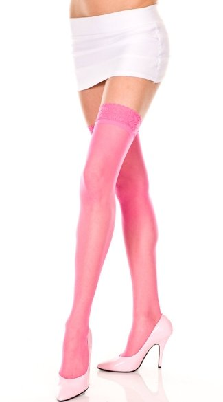 Sheer Thigh High with Lace Trim - as shown