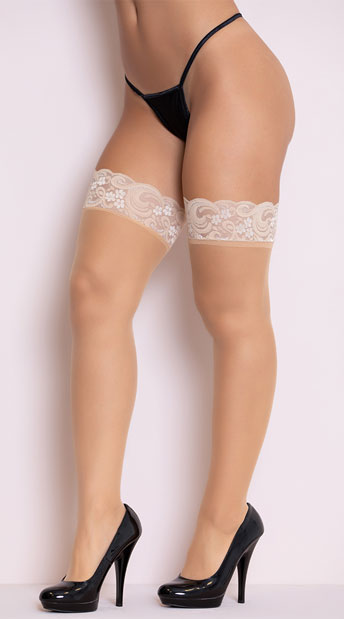 Sheer Lace Top Thigh High - Beige