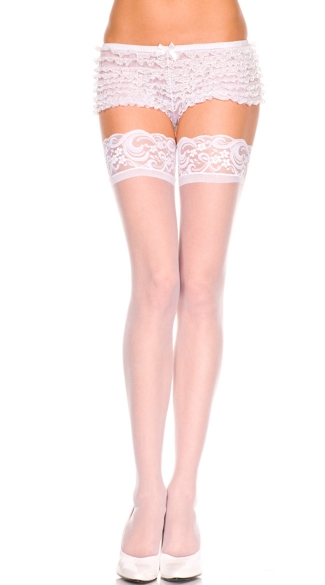 Plus Size Sheer Lace Top Thigh High - White