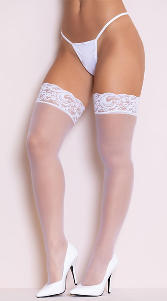Sheer Lace Top Thigh High - White