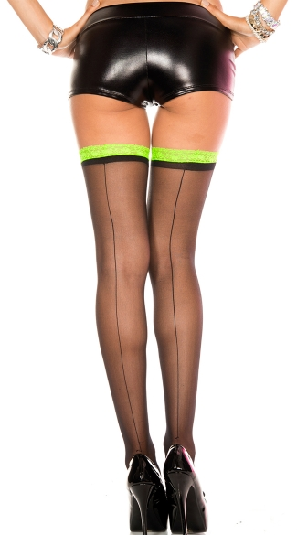 Seamed Thigh High with Two Tone Trim - Black/Neon Green