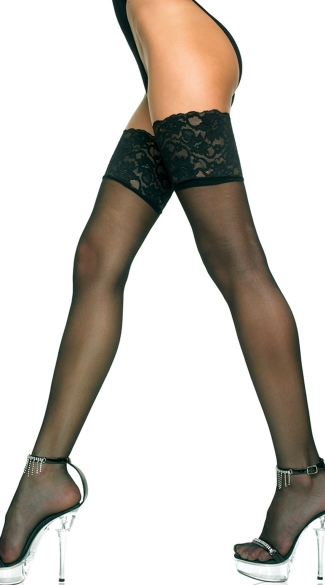 Sheer Thigh High with Wide Lace Top - Black