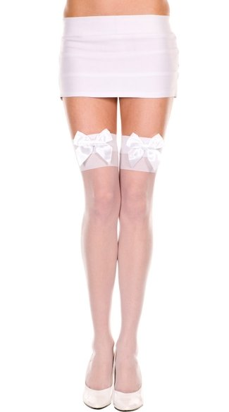 Sheer Thigh High with Satin Bow, Sheer Thigh High with Bow Accent, Bow Thigh High