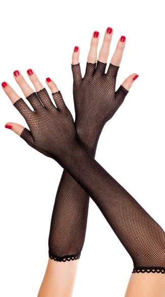 Fingerless Net Gloves - Black