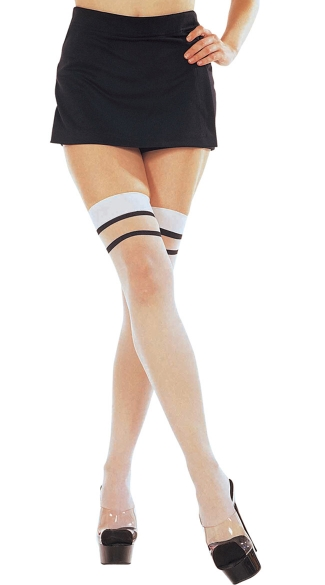 Two Tone Sheer Thigh High, Backseam Two Tone Cuban Heel Sheer, Striped Thigh High with Cuban Heel